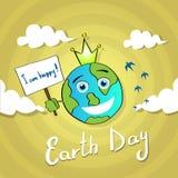 Mondo felice April Holiday Globe di giorno di sorriso dell'insegna della tenuta della terra Immagini Stock