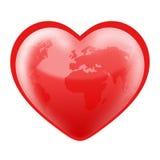 Mondo a forma di del cuore fotografia stock libera da diritti