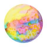 Mondo giallo rosa variopinto del pianeta, pittura dell'acquerello dell'universo Fotografia Stock