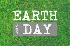 Mondo giornata per la Terra 22 aprile Testo di giorno di terra Fotografia Stock Libera da Diritti