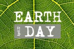 Mondo giornata per la Terra 22 aprile Testo di giorno di terra Immagini Stock Libere da Diritti
