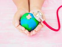 Mondo giornata per la Terra giorno di salute di mondo e del 22 aprile, il 7 aprile concetto Fotografia Stock Libera da Diritti