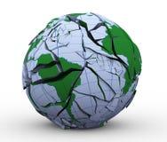 mondo incrinato della terra del globo 3d Fotografie Stock