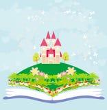 Mondo magico dei racconti, castello leggiadramente che compare dal libro Immagine Stock Libera da Diritti