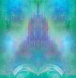 Mondo magico dei racconti, castello leggiadramente che compare dal libro Immagini Stock Libere da Diritti