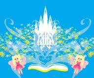 Mondo magico dei racconti, castello leggiadramente che compare dal libro Immagini Stock