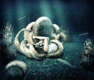 Mondo marino subacqueo di fantasia. Fotografia Stock