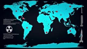 Mondo nell'ambito di attacco nucleare secondo una mappa su un monitor del computer con gli impulsi errati royalty illustrazione gratis