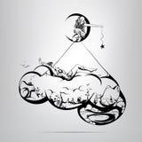 Mondo nella nuvola.  illustrazione Immagine Stock