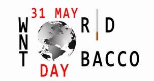 Mondo nessun giorno del tabacco 31 maggio Vettore non fumatori Segnale di pericolo di fumo Programma di mondo video 4K archivi video