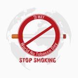Mondo nessun giorno del tabacco per il fumo di arresto Fotografie Stock Libere da Diritti