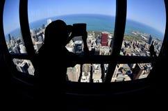 Mondo rotondo di Fisheye del turista del centro di Chicago Immagine Stock Libera da Diritti