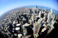 Mondo rotondo di Fisheye delle costruzioni del centro di Chicago Immagine Stock Libera da Diritti