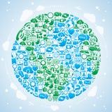 Mondo sociale di media Illustrazione di Stock