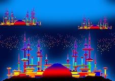 Mondo straniero in azzurro illustrazione di stock