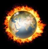 Mondo su fuoco Immagini Stock