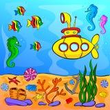 Mondo subacqueo con il sottomarino giallo Illustrazione Vettoriale