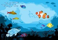 Mondo subacqueo dell'oceano con gli animali tropicali Immagine Stock