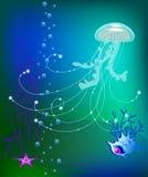Mondo subacqueo della medusa di vettore, conchiglia illustrazione di stock