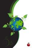 Mondo verde con i fogli Fotografia Stock