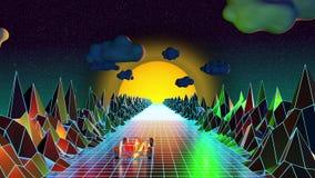 Mondo virtuale digitale del computer - animazione di stile degli anni 80 illustrazione di stock