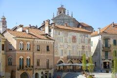 Mondovì Rione Piazza (Cuneo): the Maggiore square. Color image Royalty Free Stock Photography