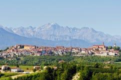 Mondovi and the Alps. The historic town of Mondovi in Cuneo - Piedmont - Italy Royalty Free Stock Photos