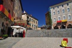 Mondovi, Cuneo, piazza Maggiore - central square. The Italian town of Mondovi,province of Cuneo, Piemonte, Italy. Old city center, cobbled square piazza Maggiore royalty free stock image