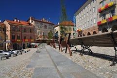 Mondovi, Cuneo, piazza Maggiore - central square. The Italian town of Mondovi,province of Cuneo, Piemonte, Italy. Old city center, cobbled square piazza Maggiore Royalty Free Stock Photos