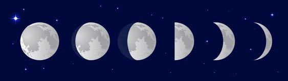 Mondphasen über dem nächtlichen Himmel mit Sternen lizenzfreie abbildung