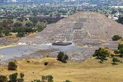 Mondpyramide III, teotihuacan stockfotos