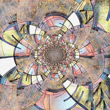 Mondrian. Abstract painting. Mirrored round fractal in Mondrian style royalty free illustration
