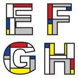 mondrian alfabet Obrazy Royalty Free
