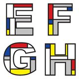 Mondrian alphabets Royalty Free Stock Images
