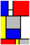 Mondrian Art Piece. An image of colorful mondrian art piece with shapes stock illustration