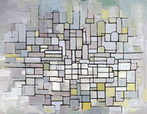 Mondrian Composition in grey, pink and blue Royalty Free Stock Photos