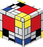 Mondrian cube. Abstract cube made with Mondrian painting stock illustration