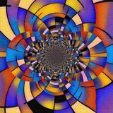 Mondrian fractal. Abstract painting. Mirrored round fractal in Mondrian style royalty free illustration