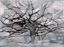 Mondrian Gray Tree Stock Image