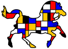 Mondrian horse. Horse outline in the style of the Dutch painter Mondrian royalty free illustration