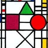 Mondrian painting neoplasticism. Color abstractions hand drawn illustration vector illustration