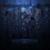 Mondschein auf den Reben Bretterzaun und Blätter in der Dunkelheit Stockbilder
