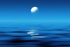 Mondschein in Meer Lizenzfreies Stockbild