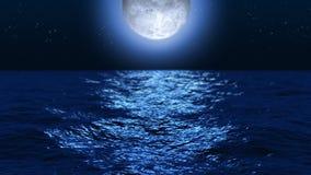 Mondschein-Ozean nachts lizenzfreie abbildung