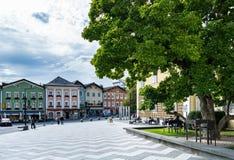 MONDSEE上奥地利/AUSTRIA - 9月15日:在前面的正方形 免版税库存图片