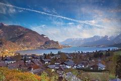 Mondsee湖在奥地利的萨尔茨卡默古特地区 库存图片