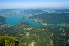 The Mondsee in Austria. Seen from the 1784 meters high mountain Schafberg Royalty Free Stock Photo