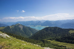 The Mondsee in Austria seen from high mountain Schafberg Stock Image