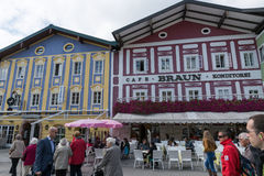 Mondsee center town street in Austria. Stock Photography