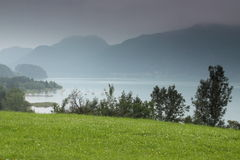 Mondsee in mist Stock Photo